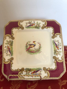 Square Cake Plate Chelsea Bird Red