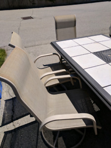 Patio table & swivel chairs