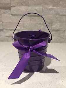 Purple Buckets with bows