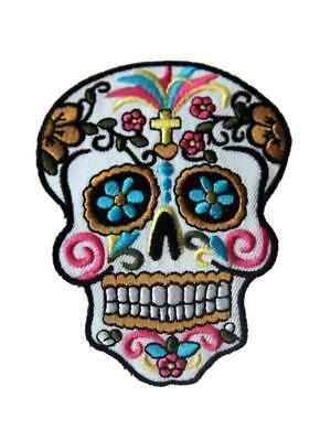 Candy Sugar Skull Tatoo Punk Biker Embroidered Iron / Sew On Patch Badge - Sugar Skull Tatoo