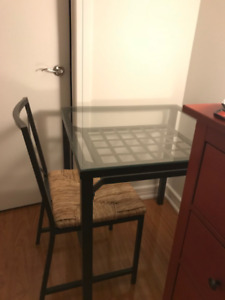 IKEA glass dinning table/2 chairs, $50