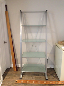 Glass and metal shelving unit