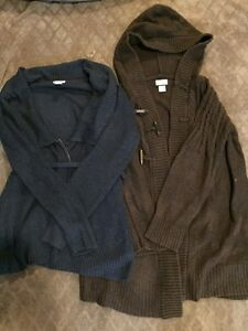 Two maternity sweaters brown and blue size large