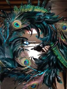Peacock feathered wreath