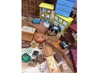 Collection of miniature drawers and small boxes job lot