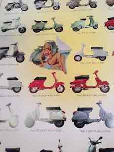 Huge 38x27 vespa scooters bikes mopeheads poster rare new London Ontario image 2