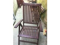 Solid teak. Reclining outdoor chairs