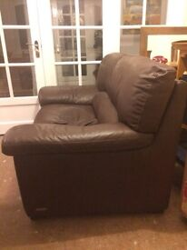 2 seater soft leather brown sofa