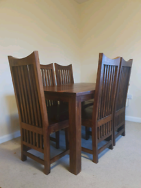 Solid Oak Dining Table + 6 Chairs (Dark Wood)