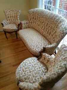 Antique Settee and Two Matching Chairs