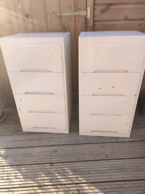 2 solid wood painted 4 draw units
