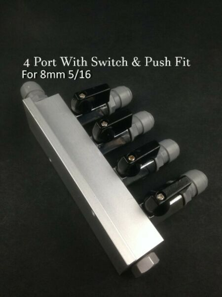Gas Line Manifold 4 Ways Port For Beer Larger Guinness Regulator 8mm 3/16 With Push Fitting