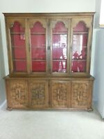 Solid Oak 2 Piece China Cabinet