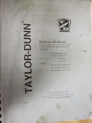 Taylor Dunn Ms-534-08 Operators Manual Ms53408