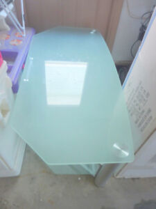 Beautiful large TV table with blue frosted glass