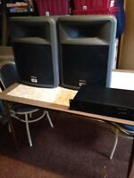 2 pavey pr12 passive speakers with amplifier and cords
