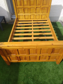 Quality Heavy Solid Pine Panel Double Bed