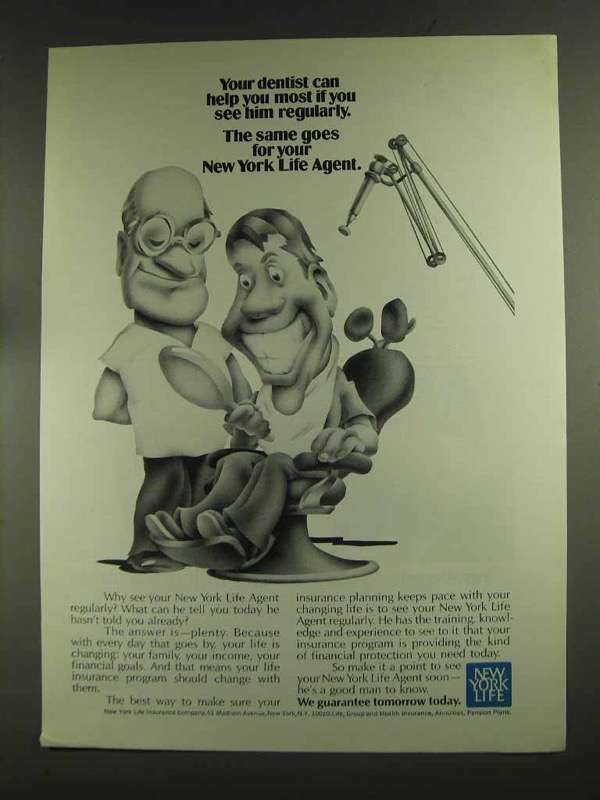 1972 New York Life Insurance Ad - Dentist Can Help