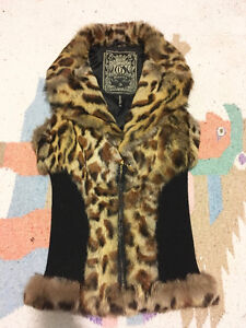 GUESS Leopard Genuine Real RABBIT FUR VEST w/ Leather, Size S London Ontario image 8