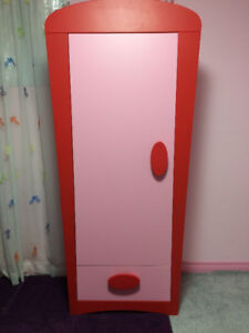 Ikea Mammut Wardrobe - Pink With Red Accents
