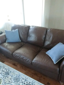 Genuine Brown Leather Sofa and Chair