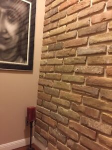 Brick Veneer, Tile, Backsplash, Accent Wall, Floor, Vintage