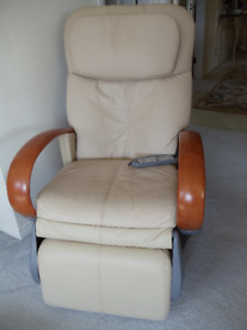 Leather MASSAGE CHAIR beige with solid wood arms and flexible