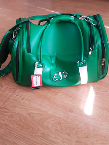 Sask roughrider leather travel bag