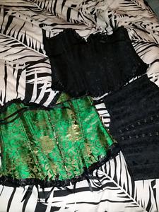 3 corsets XL fit lace up boned