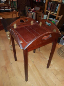 Vintage solid wood restaurant style serving Tray Table