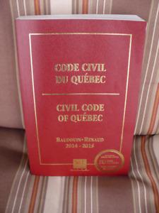CODE CIVIL DU QUÉBEC 2014-2015 BAUDOUIN-RENAUD ( BILINGUE )