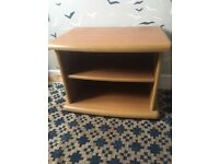 Small solid wood TV table or bed side unit with shelves beautiful condition