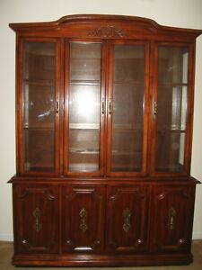 8 pc Solid Wood Dining Room Set and China Cabinet and Hutch