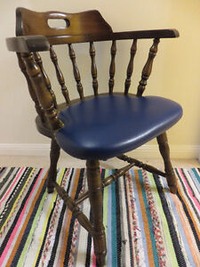 Solid Wood Chair with Leather Seat