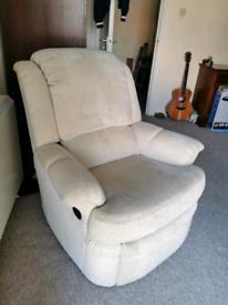 Comfortable cream / beige fabric armchair sofa