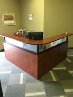 L-Shape Reception Desk – Orange/Brown