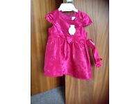 Girls pink party dress age 12-18 months bnwt