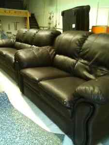 Italian Leather Brown Loveseat and Couch for sale!
