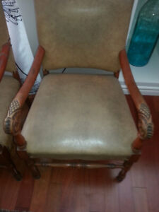 Maple and Leather Chairs - Antiques