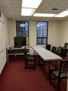 hourly private classroom available in downtown for only $10.00