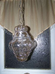 Murano Caged Blown Bubble Glass Ceiling Pendant Light Fixture