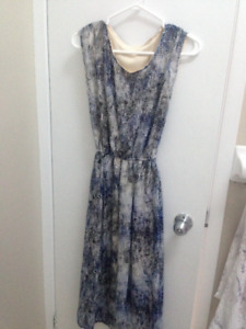 Blue and white patterned maxi dress, size S