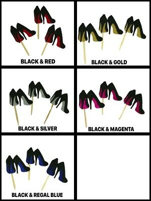 GLITTER High Heel Stiletto Shoes Design Cupcake Toppers Choose Package & Color