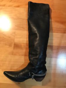 JOHN FLUEVOG Women's Size 7 chain harness thigh-high boots
