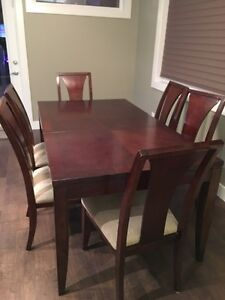 Dining table with leaf and six chairs Strathcona County Edmonton Area image 1
