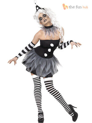 Ladies Sexy Scary Clown Jester Costume Womens Harlequin - Sexy Scary Clown