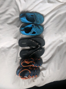 Size 10T water shoes and flip flops