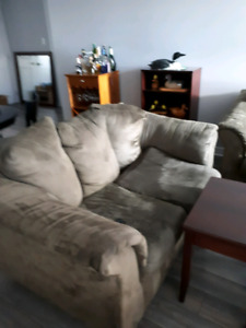 Olive green microfibre couch set. Need gone $50