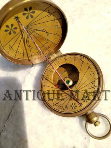Antique Style Solid Brass Timekeeping Pocket Thread Sundial Compass Watch