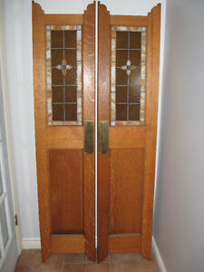 ANTIQUE CAFE DOORS WITH STAINED GLASS